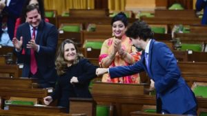Freeland and Trudeau Fist Bump